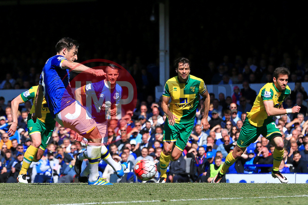 Everton's Leighton Baines scores his sides second goal from the penalty spot  - Mandatory byline: Matt McNulty/JMP - 15/05/2016 - FOOTBALL - Goodison Park - Liverpool, England - Everton v Norwich City - Barclays Premier League