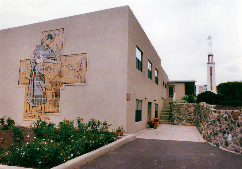 The main building of The Servants of the Paracletes with the chapel in the background in Jemez Springs. File Photo. (Rose Palmisano/Albuquerque Journal)