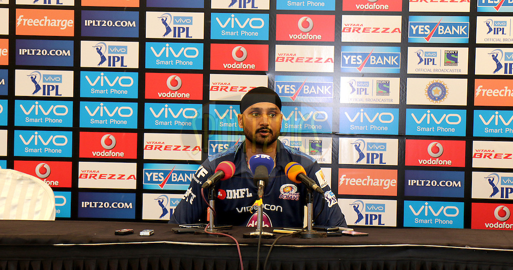Harbhajan Singh of MI at the Press Confrence after the match 1 of the Vivo Indian Premier League ( IPL ) 2016 between the Mumbai Indians and the Rising Pune Supergiants held at the Wankhede Stadium in Mumbai on the 9th April 2016<br /> <br /> Photo by Rahul Gulati/ IPL/ SPORTZPICS