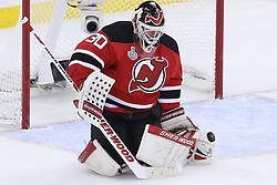 June 9, 2012; Newark, NJ, USA;  New Jersey Devils goalie Martin Brodeur (30) makes a save during the first period of Game 5 of the 2012 Stanley Cup Finals at the Prudential Center.