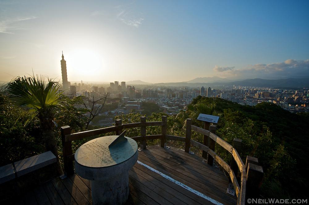 An observation platform high above Taipei, Taiwan.