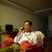 BEIJING, MAY-15, 2009: Former senior Chinese official Bao Tong , who spent seven years in prison for sympathizing with democracy advocates, during a phone interview in his apartment in Beijing.