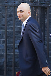 Downing Street, London, July 19th 2016. Communities and Local Government Secretary Sajid Javid arrives at the first full cabinet meeting since Prime Minister Theresa May took office.