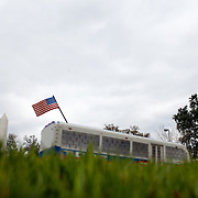 Lego bus and American flag in Miniland within the new theme park Legoland in Whitehaven, Florida on February 11, 2012.