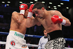 Oct 19, 2012; Brooklyn, NY, USA; WBC/WBA super lightweight champion Danny Garcia (zebra trunks) and challenger Erik Morales (white trunks) during their 12 round bout at the Barclays Center. Garcia won via 4th round KO.