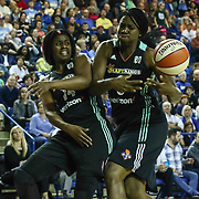 New York Liberty Guard SUGAR RODGERS (14) and New York Liberty Center TALIA CALDWELL (6) fights for the rebound in the first period of a WNBA preseason basketball game between the Chicago Sky and the New York Liberty Sunday, May. 01, 2016 at The Bob Carpenter Sports Convocation Center in Newark, DEL