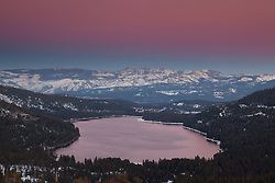 """Alpenglow at Donner Lake 2"" - This alpenglow was photographed above Donner Lake and Truckee, CA."