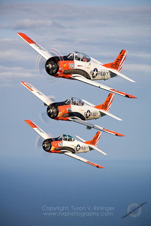 T-28 60th Anniversary Formation Training - Sheboygan, WI..Pilots Linc Dexter, Jack Mangen and Luc Joly