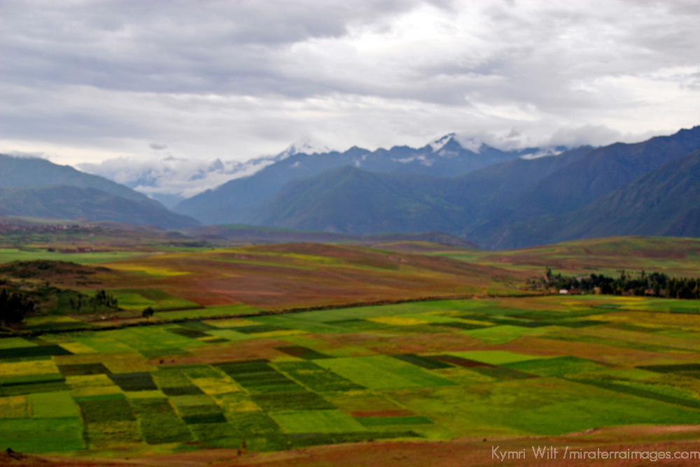 Americas, South America, Peru. Verdant landscape of the Urubamba Valley, or Sacred Valley, of the Peruvian Andes.
