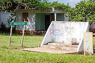 House and monument near Manuel Lazo, Pinar del Rio, Cuba.