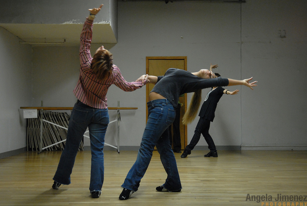 "Dancers Simone Assboeck, from left, Tamara van Leeuwen and Martina Kocichova.rehearse for ""A Show Unlike Anything on Broadway!"" at Stepping Out Studios in Manhattan on April 25, 2007 in preparation for the 5 Boro Dance Challenge...The locally produced 5 Boro Dance Challenge, New York City's first same-sex dance competition, was held at the Park Central Hotel in Manhattan from May 4-6, 2007. ..The show was the entertainment presented in addition to the competition. ."