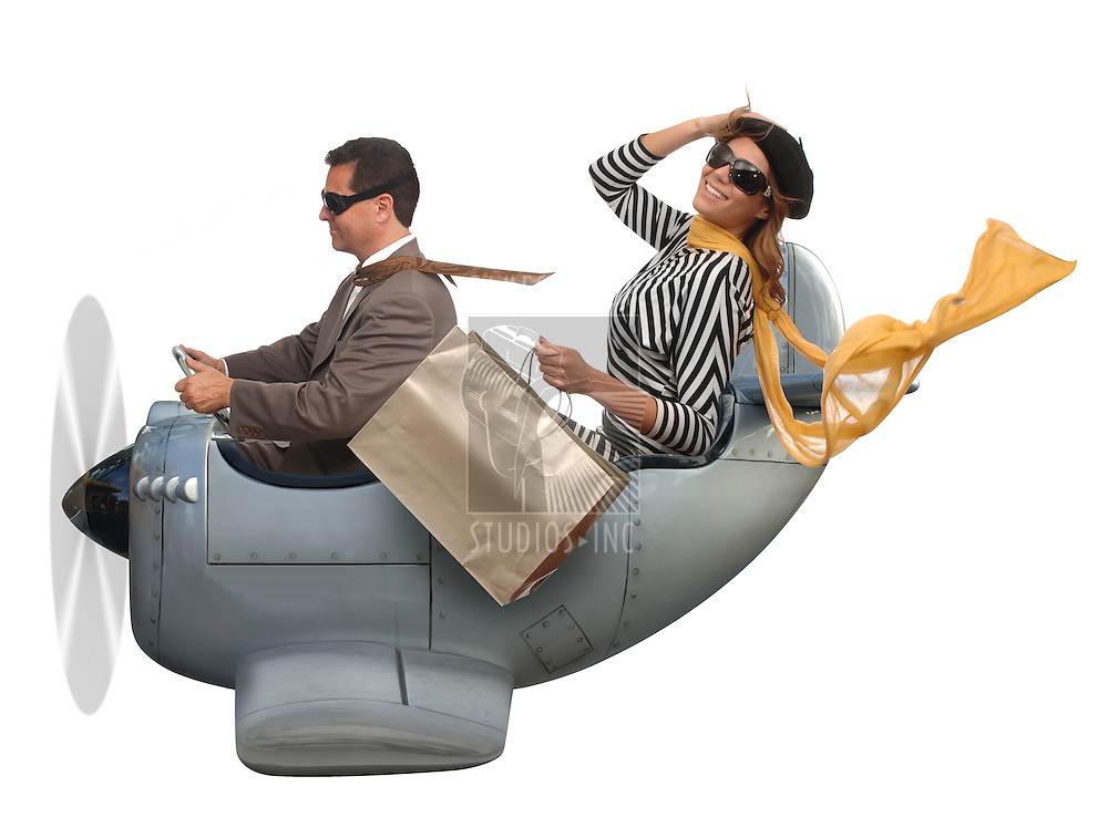 Man and woman flying in a small airplane on a white background