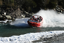 Shotover Jet sent out its first jet boat trip today after ice in the Shotover River stopped operation for eight days, Queenstown, New Zealand, Monday, July 09, 2012. Credit:SNPA / Dianne Manson