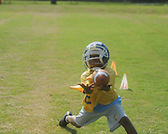 Trevin Wadlington makes a catch during Oxford Middle School football camp in Oxford, Miss. on Thursday, July 22, 2010.