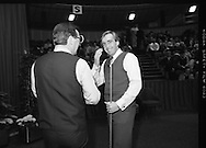 The Benson and Hedges .Irish Masters Snooker..1984..28.03.1984..03.28.1984..28th March 1984..The championship was held at Goffs,Co Kildare. All the top names in snooker took part..Steve Davis,Jimmy White,Eddie Charlton,.Tony Knowles,Dennis Taylor,Tony Meo,.Alex Higgins,Ray Reardon,.Cliff Thorburn,Terry Griffiths,.Bill Werbeniuk and Eugene Hughes..The eventual winner was Steve Davis who beat Terry Griffiths 9 -1 in the final..Image taken as Dennis Taylor and Terry Griffiths share a joke.