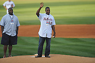 Former Ole Miss quarterback Micheal Spurlock, now with the Tampa Bay Buccaneers, throws out the ceremonial first pitch at Oxford-University Stadium in Oxford, Miss. on Friday, April 15, 2011. Ole Miss won 3-2.
