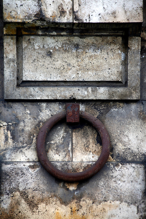 Europe, France, Paris. Iron ring of Seine River wall.
