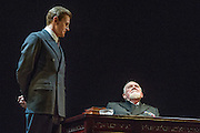 26/03/2012. London, UK. Playful Productions and Michael Alden present the stage production of The Kings Speech, by David Seidler, at Wyndhams Theatre, London.Picture shows: Charles Edwards as Bertie and Joss Ackland as King George V. Photo credit : Tony Nandi