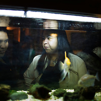 Two Bolivian women speak next to a fish tank during a Bolivian wedding in Bilbao.