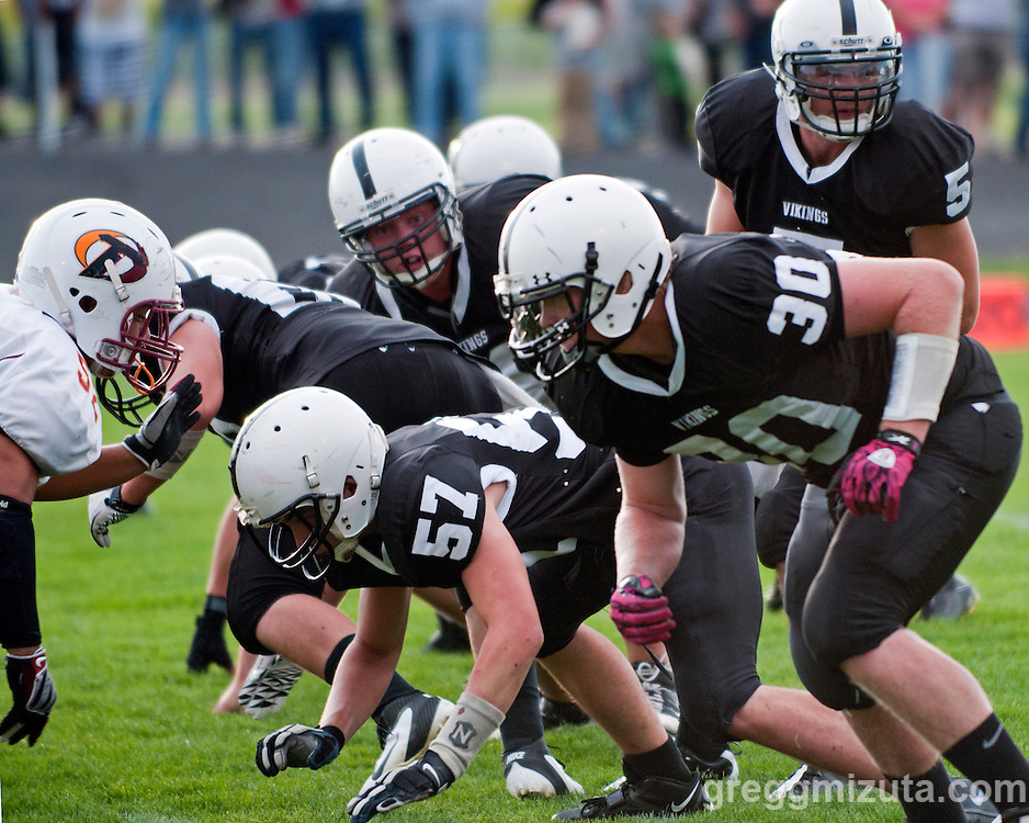 Vale offense in motion during the Vale - Ontario game on September 16, 2011 in Vale, Oregon.