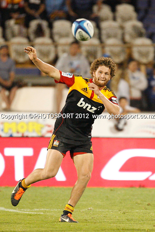 Chiefs Tawera Kerr-Barlow in action during their game at Baypark Stadium, Mt Maunganui, New Zealand. Friday,16 March 2012. Photo: Dion Mellow/photosport.co.nz