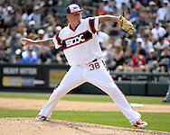 CHICAGO - APRIL 24:  Mat Latos #38 of the Chicago White Sox pitches against the Texas Rangers on April 24, 2016 at U.S. Cellular Field in Chicago, Illinois.  The White Sox defeated the Rangers 4-1.  (Photo by Ron Vesely)   Subject: Mat Latos