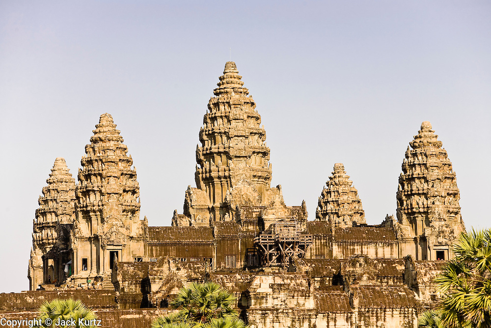19 MARCH 2006 - SIEM REAP, SIEM REAP, CAMBODIA: The main Angkor Wat complex near Siem Reap, Cambodia. Cambodian authorities estimate that more than one million tourists will visit Angkor Wat in 2006, making it the leading tourist attraction in Cambodia by a large margin. The complex is also an active Buddhist worship center in Cambodia.    PHOTO BY JACK KURTZ