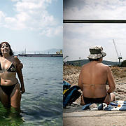 Elias and Dina in Skaramagas bay. They have been swimming there for the last 20 years. Skaramagas, Saronic Gulf, West Attica.