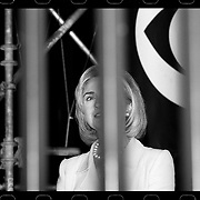 CHICAGO, IL - August 27, 1996: Hillary Clinton at the Michael Jordon statue at the United Center during the 1996 Democratic National Convention in Chicago, Illinois.