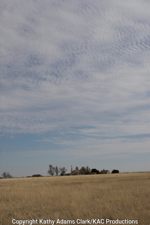 Field and clouds on the prairie in the Texas Panhandle, near Spearman in Bansford County.