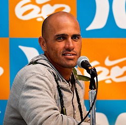 HUNTINGTON BEACH, California/USA (Sunday,Aug 7, 2011) 10-Time ASP World Champion Kelly Slater (Cocoa Beach, FL), 39, fields question during a press conference late afternoon at the U.S. Open of Surfing 2011. Photo: Eduardo E. Silva.
