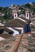 Roofs and churches in Ouro Preto, center of gold mining in 18th century colonial Brazil, Minas Gerais, Brazil