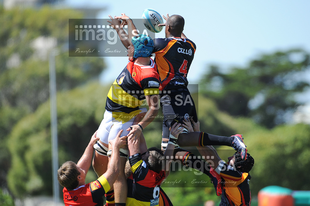 CAPE TOWN, SOUTH AFRICA - Saturday 28 February 2015, Sebastian Ferreira of Hamiltons RFC and Nqubeko Zulu of Vaseline Wanderers tussle for the line out ball during the second round match of the Cell C Community Cup between Hamiltons and Vaseline Wanderers at the Stephan Oval, Green Point.<br /> Photo by Roger Sedres/ImageSA/SARU