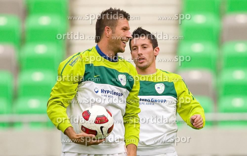 Bostjan Cesar and Robert Koren during the Slovenia training session at Stozice stadium on October 7, 2010 in SRC Stozice, Ljubljana, Slovenia. (Photo by Vid Ponikvar / Sportida)