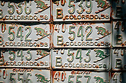 "SHOT 7/08/2007 - Old Colorado license plates featuring a downhill skier adorn the side of a home in Crested Butte, Colo. Often called ""the last great Colorado ski town"", Crested Butte is a small resort town located in Gunnison County in the U.S. state of Colorado. A former coal mining hub, Crested Butte is now a destination for skiing, mountain biking, and a variety of other outdoor activities. The Colorado state legislature has designated Crested Butte the wildflower capital of Colorado..(Photo by Marc Piscotty / © 2007)"