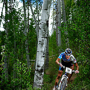SHOT 6/5/10 12:11:59 PM - Jeremy Horgan-Kobelski of Boulder, Co. makes his way through the course during the Men's Pro X-Country Mountain Bike Race at the Teva Mountain Games in Vail, Co. Horgan-Kobelski won the event with a time of 1:30:24, almost three minutes ahead of the second place finisher. The games attract some of the world's best extreme athletes to compete in kayaking, climbing, mountain bike racing, freeride, big air, trail and road running and dog competitions. (Photo by Marc Piscotty / © 2010)