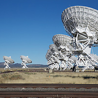 "Cycling through four configurations every few months, the VLA's rail system allows these massive dishes to ""zoom"" focus into deep space. The 'Y' configuration goes out to 13 miles on each arm for an effect of an eye that would be 22 miles across"