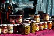 Jars of pickles and preserves.