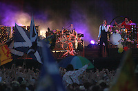 The Killers frontman Brandon Flowers, the headline act on the main stage on Saturday night, T in the Park 2007..©Pic : Michael Schofield..