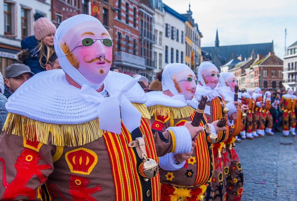 BINCHE , BELGIUM - FEB 26 : Participants in the Binche Carnival in Binche, Belgium on February 26 2017. The Binche carnival is included in a list of intangible heritage by UNESCO.