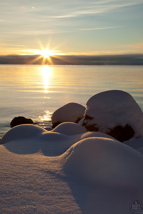 """Snowy Sunrise at Lake Tahoe 2"" - These snow covered boulders were photographed at sunrise on the shore of Commons Beach in Tahoe City, Lake Tahoe."