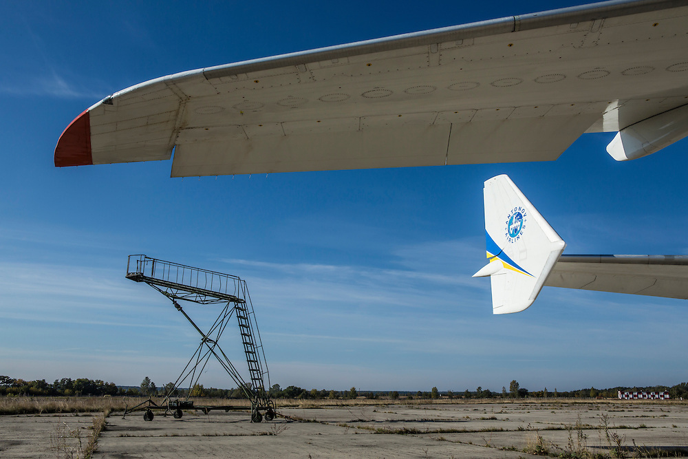 GOSTOMEL, UKRAINE - OCTOBER 1, 2014: A wing and part of the tail of the Antonov AN-225, the longest and heaviest airplane ever built, on an airfield in Gostomel, outside Kiev, Ukraine. CREDIT: Brendan Hoffman for The New York Times