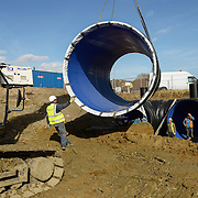 Location photography of the installation of a water attenuation tank on a housing development