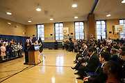 Mayor-Elect Bill de Blasio announces his appointment of Carmen Fari&ntilde;a, speaking, as Schools Chancellor at William Alexander Middle School in Park Slope, Brooklyn, NY on Monday, Dec. 30, 2013. <br /> <br /> CREDIT: Andrew Hinderaker for The Wall Street Journal<br /> SLUG: NYSTANDALONE