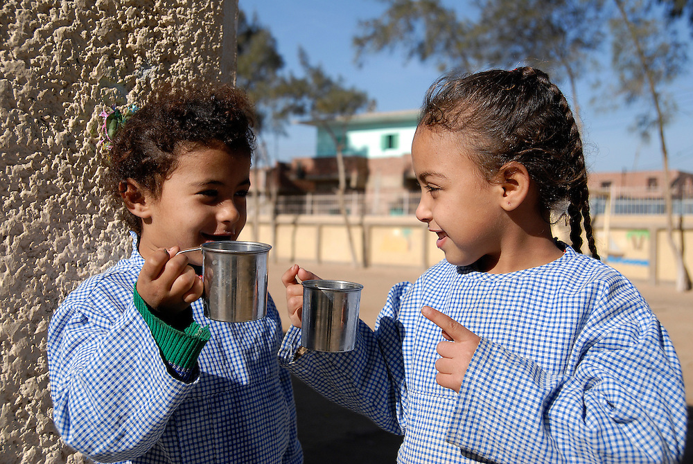 EGYPT, QALYOUBIYA: A kindergarden and pre-school for children of leprosy patients is run by Caritas. The children get a cup of fresh milk and also some nutritious food every day. Abu Zaabal, Egypt's leprosy colony 40km north of Cairo, was built in 1933 and lepers were historically brought in by police and were not allowed to leave as isolation was seen as the only treatment. Now living conditions there, with all necessary facilities, are generally much better than in the poor rural villages where most patients come from. Due to this, the 750 or so patients and another 3,000 to 4,000 cured lepers living in the adjoining Abdel Moneim Riad village don't want to leave anymore. By staying in the village they also don't have to fear from any stigma or derisive comments.