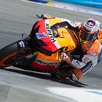 Repsol Honda rider Casey Stoner of Australia during the Qualifying practice session for the U.S. MotoGP at Mazda Raceway Laguna Seca, Saturday, July 28, 2012.