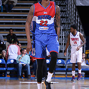 Delaware 87ers Guard Jamal Jones (22) celebrates after hitting a three pointer in the first half of a NBA D-league regular season basketball game between the Delaware 87ers and the Grand Rapids Drive (Detroit Pistons) Saturday, Apr. 04, 2015 at The Bob Carpenter Sports Convocation Center in Newark, DEL. Photo By Saquan Stimpson