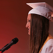 SGA Executive president Miriam Fieger addresses students during Red Lion Christian Academy commencement exercise Friday, May 29, 2015, at Glasgow Church in Bear, Delaware.