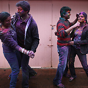 People dance to Indian music during a Holi festival at the Sanatan Dharma Hindu Temple and Cultural Center in Maple Valley on Saturday, March 10, 2012. Holi, the Festival of Colors, is a Hindu festival welcoming spring. It is most well-known for the vibrant bursts of gulal, the powdered dye, that festivalgoers throw on each other. (Joshua Trujillo, seattlepi.com)
