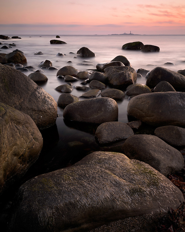 Sunset at Bybergsanden at the coast of Jaeren, Rogaland, Norway.